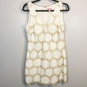 Lilly Pulitzer white gold lace dress size 10